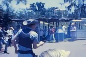 Newfound footage of Six Flags Over Texas in 1962 shows what life was like in the park's early days. The footage is a bit grainy, but viewers can make out some of the more shocking aspects of the park, such as fake bodies hanging from trees. The footage also shows quick clips of rides, playful seals, staged gunfights and the original Skull Island attraction.