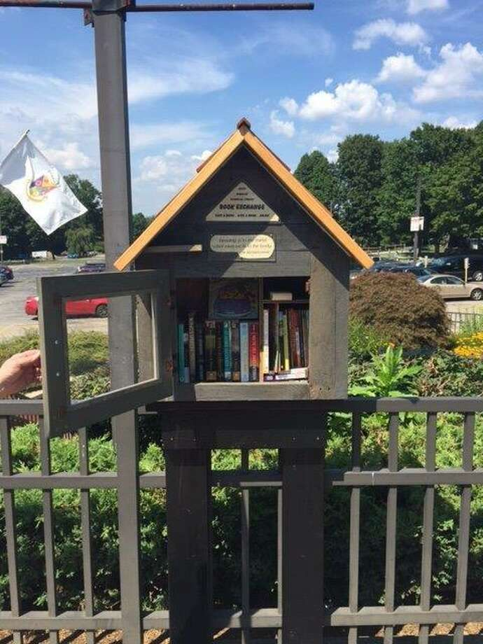 A Little Free Library, sponsored by Edith Wheeler Memorial Library in Monroe, is stationed near the pool area at Wolfe Park in Monroe. It's one of two such structures stationed at the park. Photo: Contributed / Edith Wheeler Memorial Library