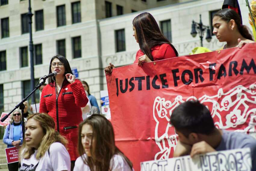 State Senator Jessica Ramos addresses supporters of farmworkers during a rally outside the Capitol on Monday, May 6, 2019, in Albany, N.Y. Those attending the rally were calling on the legislature to pass the the Farmworker Fair Labor Practices Act. (Paul Buckowski/Times Union)