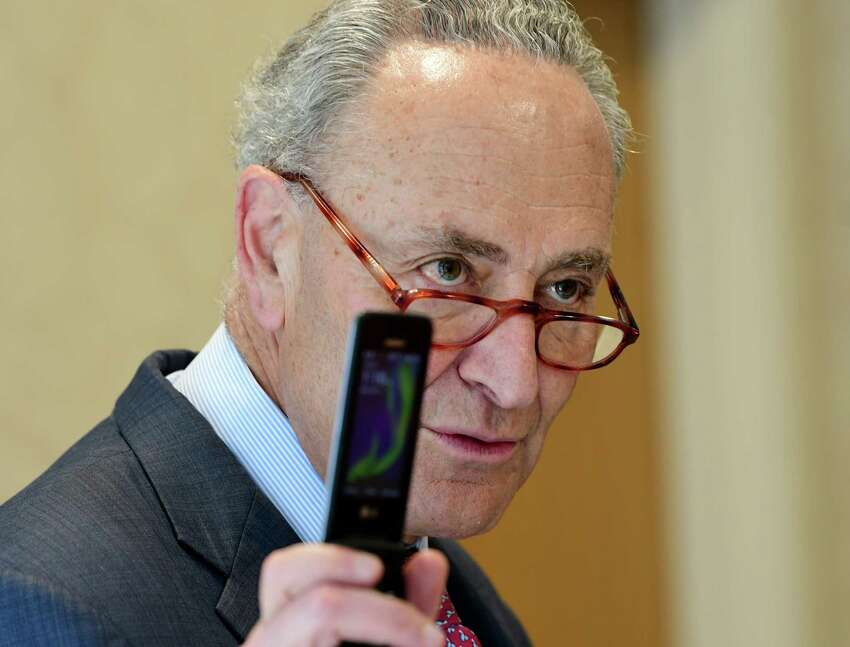 U.S. Senator Charles Schumer launches a major push to pass the Telephone Robocall Abuse Criminal Enforcement and Deterrence (TRACED) Act during a press conference at Colonie Senior Services Center on Monday, May 6, 2019 in Colonie, N.Y. (Lori Van Buren/Times Union)