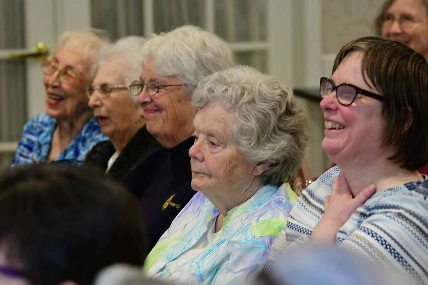 Seniors listen as U.S. Senator Charles Schumer launches a major push to pass the Telephone Robocall Abuse Criminal Enforcement and Deterrence (TRACED) Act during a press conference at Colonie Senior Services Center on Monday, May 6, 2019 in Colonie, N.Y. (Lori Van Buren/Times Union)