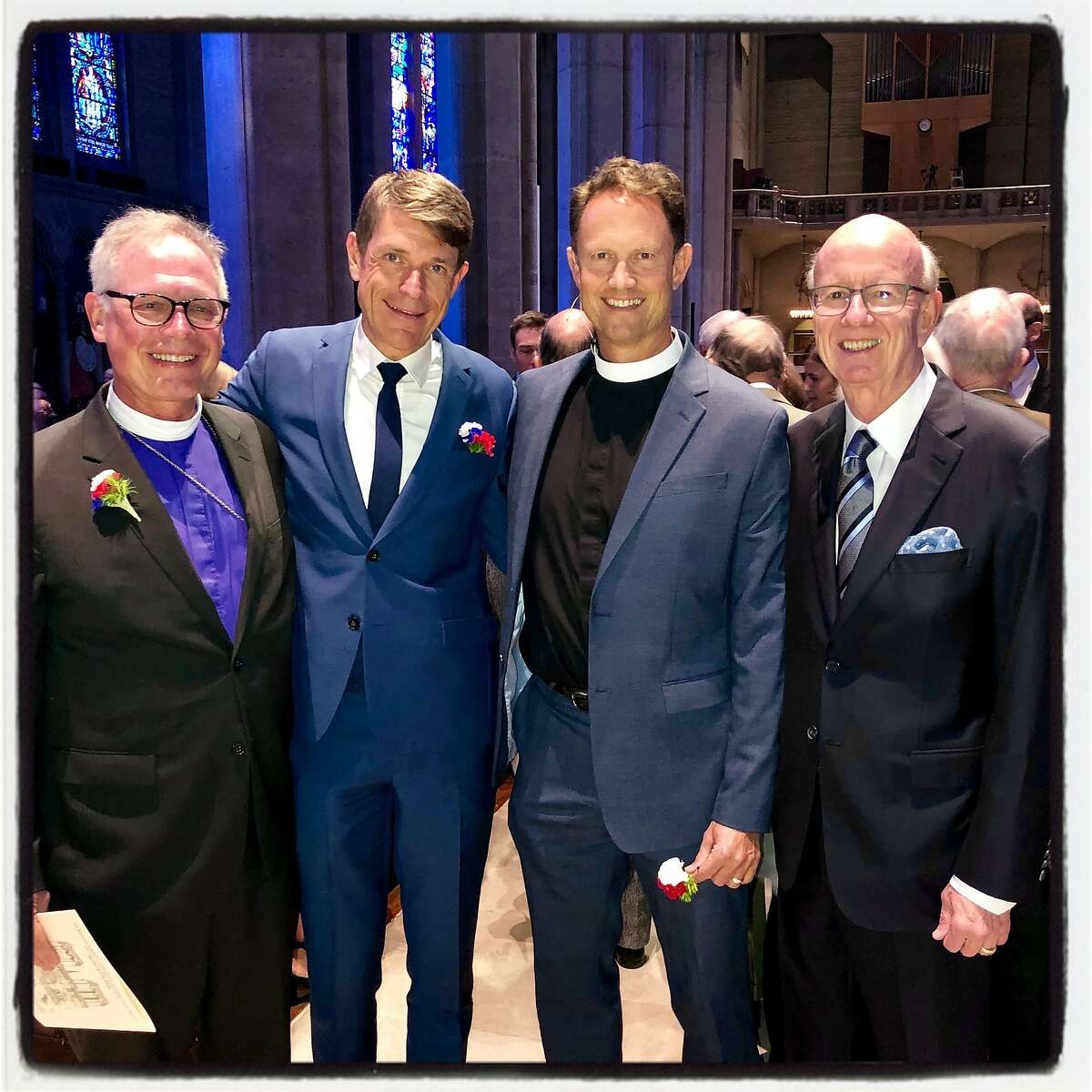 Bishop Marc Andrus (at left) with French Consul General Emmanuel Lebrun-Damiens, Grace Cathedral's Malcom Young and Paris Sister City chairman Tom Horn. April 29, 2019.