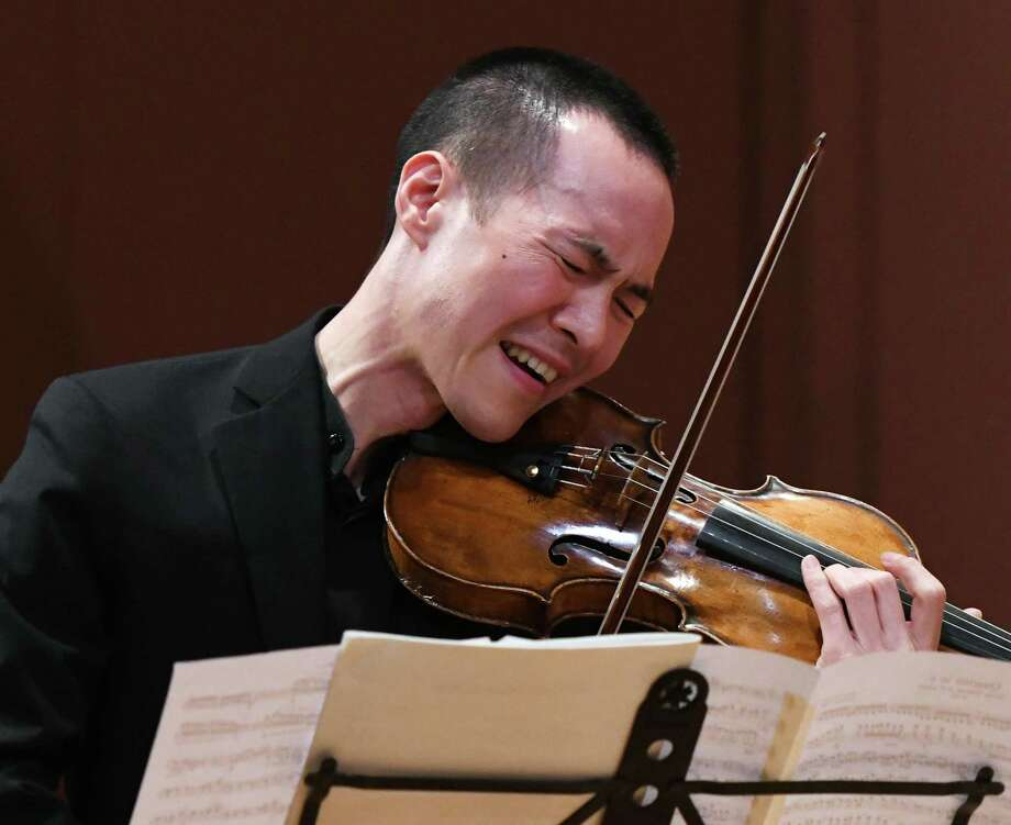 Joseph Lin performs on the violin with the Musicians from Marlboro as part of the Friends Cole Concert Series at Greenwich Library's Cole Auditorium in Greenwich, Conn. Sunday, May 5, 2019. The concert, sponsored by Friends of the Greenwich Library, featured flawless performances of compositions from Schubert, Bartók and Brahms. Photo: Tyler Sizemore / Hearst Connecticut Media / Greenwich Time