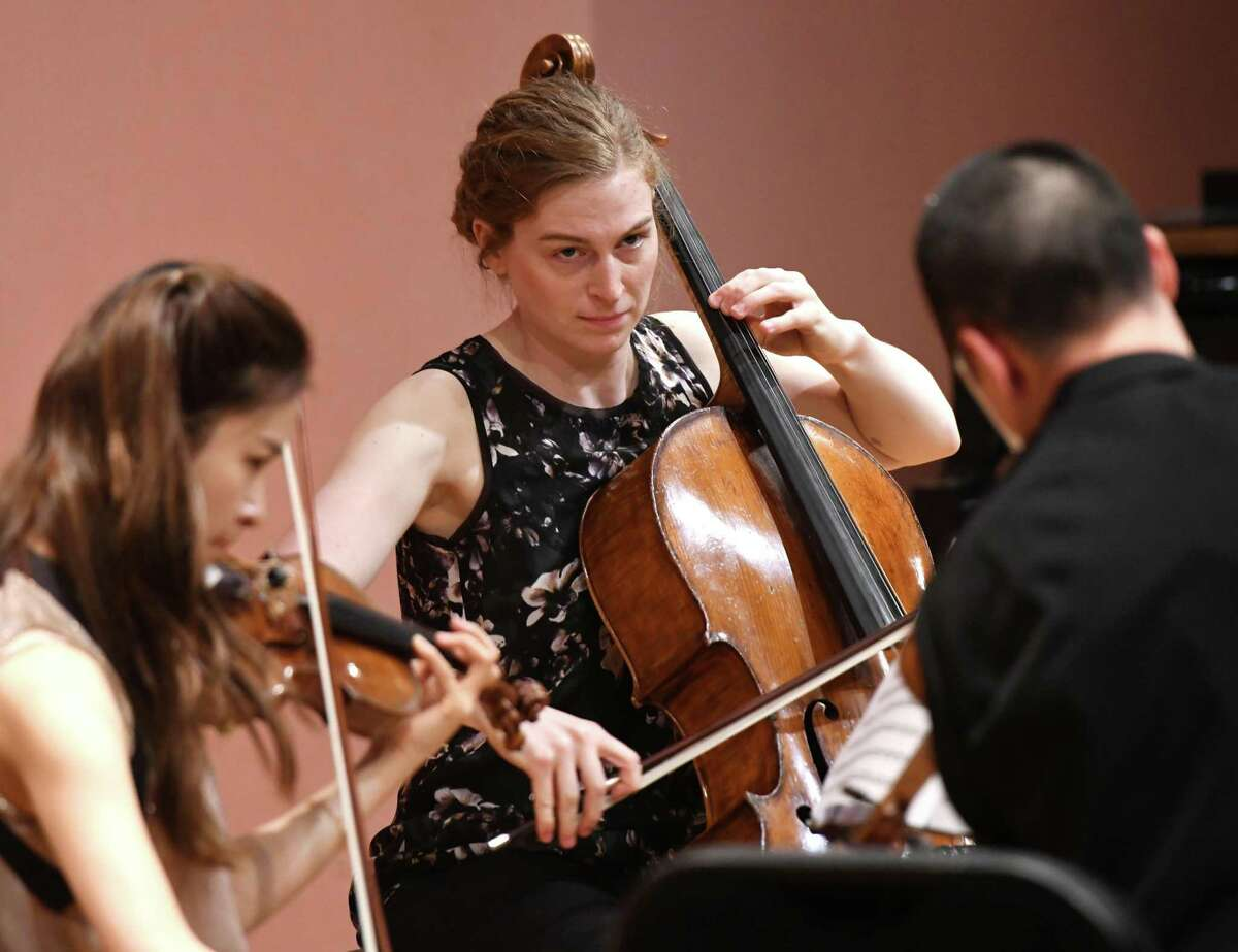 Sarah Rommel performs on the cello with the Musicians from Marlboro as part of the Friends Cole Concert Series at Greenwich Library's Cole Auditorium in Greenwich, Conn. Sunday, May 5, 2019. The concert, sponsored by Friends of the Greenwich Library, featured flawless performances of compositions from Schubert, Bartók and Brahms.