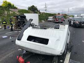 All lanes reopened Monday afternoon on southbound Interstate Highway 880 in Hayward after a big-rig overturned and blocked lanes for nearly two hours.