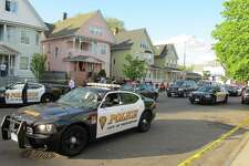 Several Bridgeport, Conn. police cruisers on Thursday, May 10, 2012.