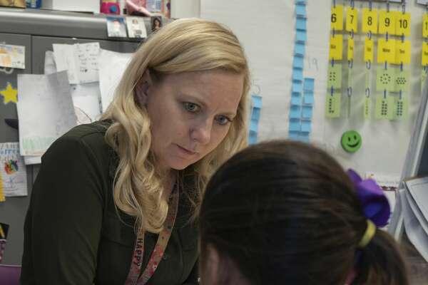 Yarbrough Elementary teacher Julia Borrego tests one of her students. 05/06/19 Tim Fischer/Reporter-Telegram