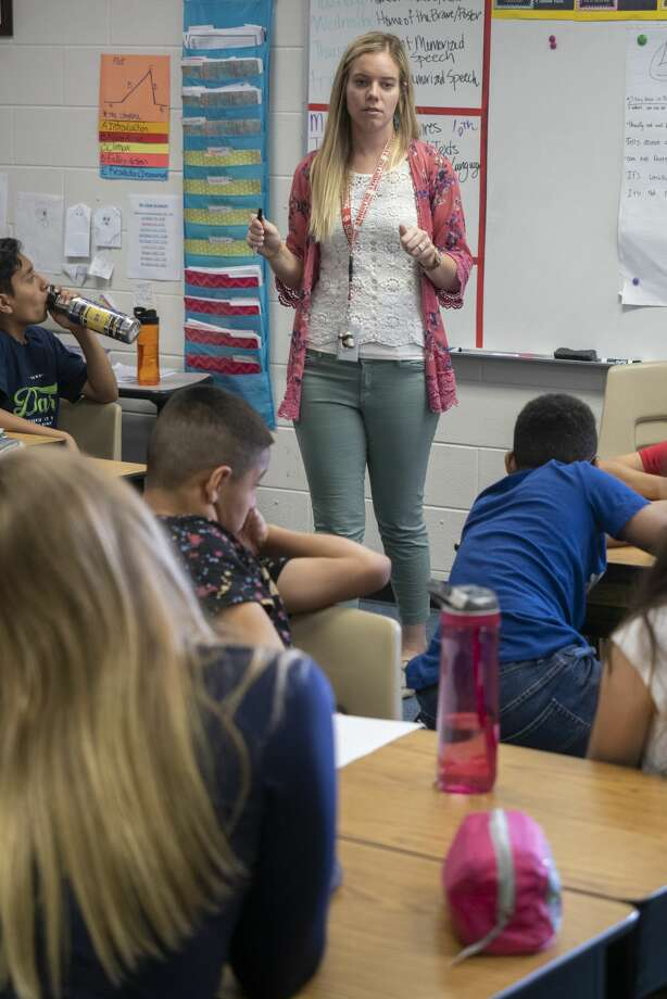 Tommy Franks Elementary teacher Emily Winklejohn works with her students. 05/06/19  Tim Fischer/Reporter-Telegram Photo: Tim Fischer/Midland Reporter-Telegram