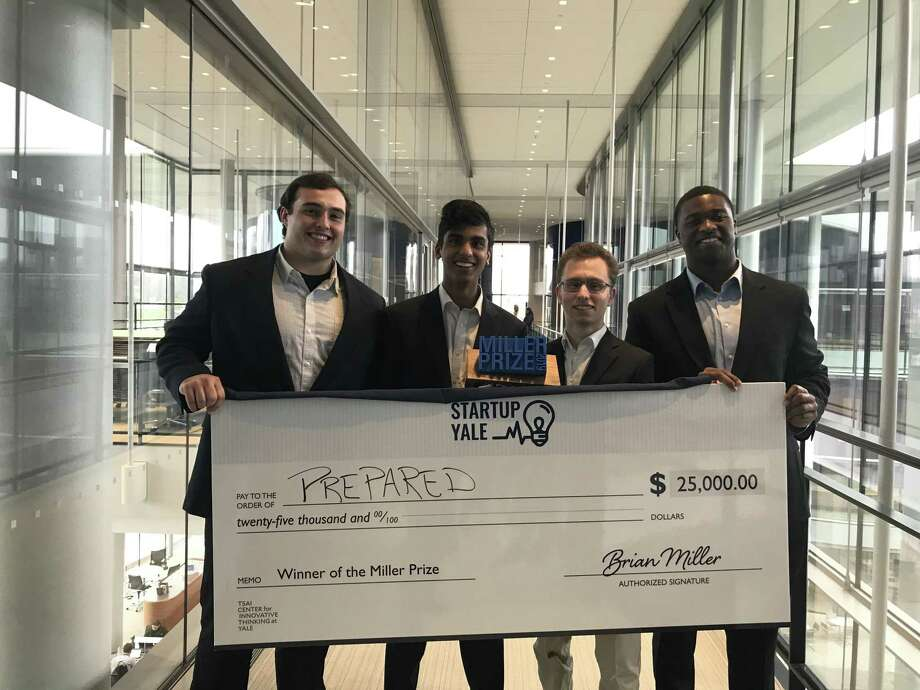 "(Left to right) Yale University students Michael Chime, Neal Soni, Dylan Gleicher, and Daniel James; Co-Founders of ""Prepared,"" a mobile alert application for school shootings. Photo: Contributed Photo / Contributed Photo / Connecticut Post Contributed"