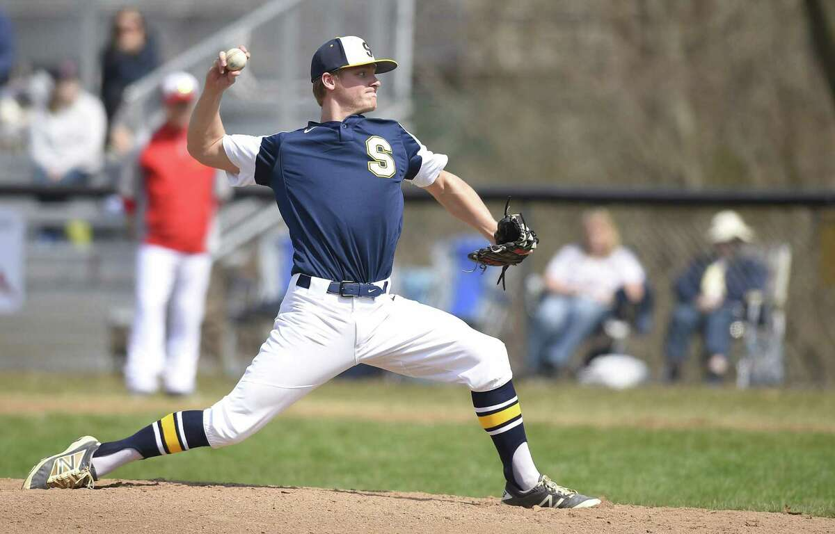 Simsbury pitcher Jack Donofrio (27) throws against Greenwich in the first inning of a baseball game Saturday, March 30, 2019 in Greenwich, Connecticut. Greenwich beat Simsbury 6-4 in their season opener at Cardinal Field.