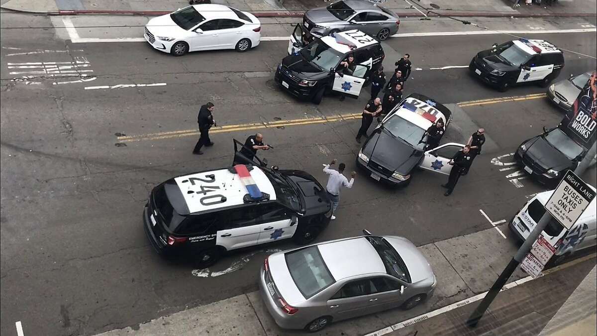Multiple Dan Francisco police officers detain a man at gunpoint on Mission and Fifth streets on Monday afternoon.