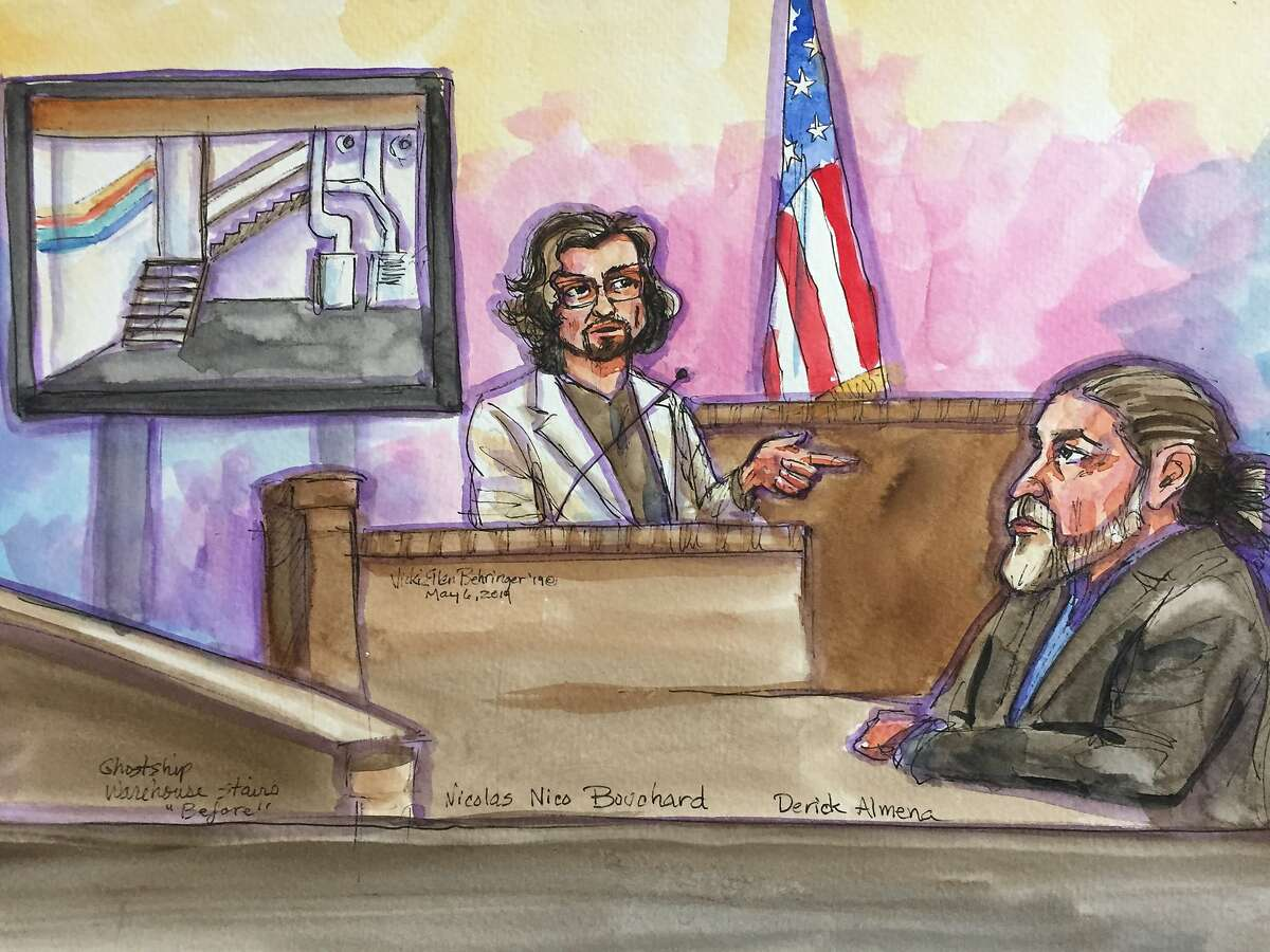 Derrick Almena, right, in this courtroom artist's sketch, listens to testimony by Nicholas Bouchard during the Ghost Ship trial for Alemena and co-defendant Max Harris on Monday, May 6, 2019, in Oakland, Calif.Derrick Almena, depicted at center in this courtroom artist's sketch, listens to the opening statement by Alameda County assistant district attorney Casey Bates, as the
