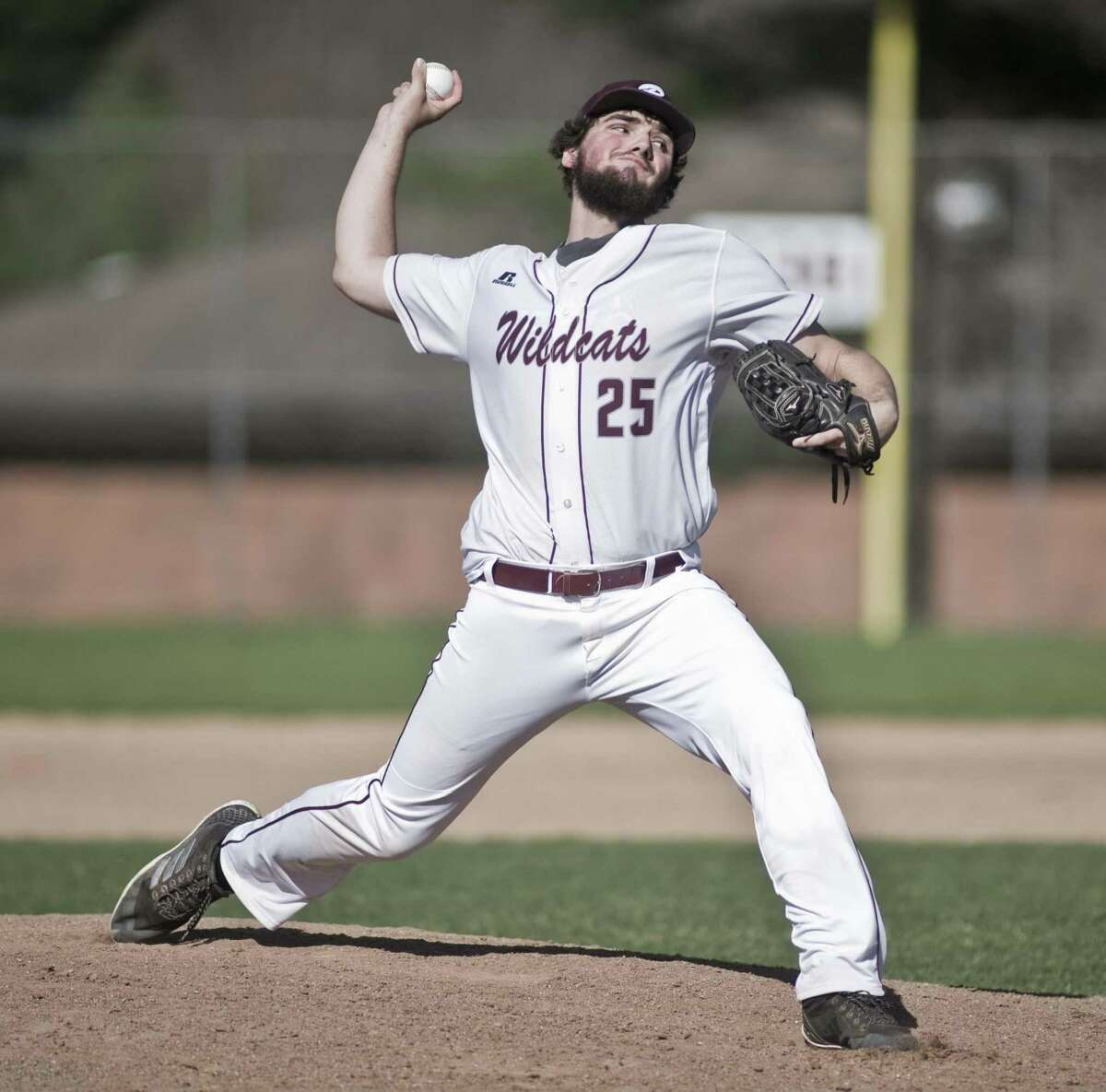 Bethel High School pitcher Jack Carraturo releases the ball in a game against Notre Dame-Fairfield High School, played at Bethel. Wednesday, April 17, 2019