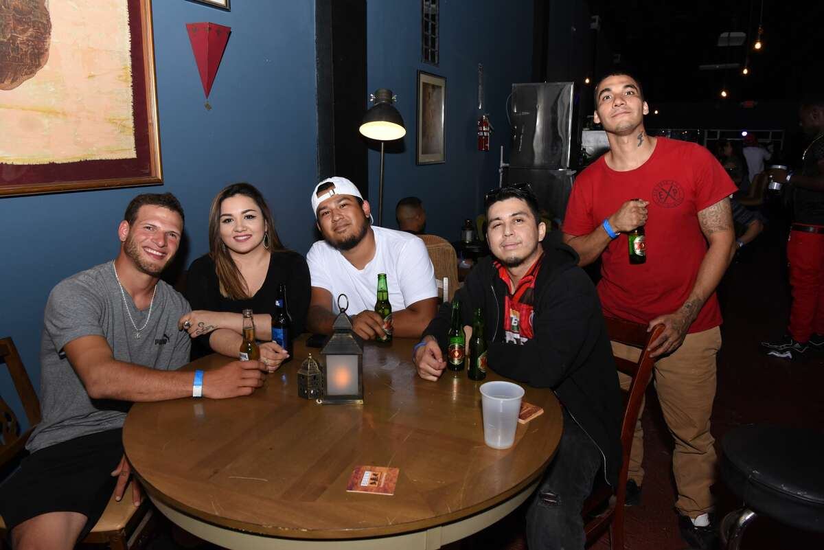 """Andrew Carrera, Jackie Maxwell, Andy Castillo, Kurt """"Loudmouth Krazi K"""" Mena and Robert Madrigal pose for a photo during the Cinco De Mayo Fest at Electric Lounge, Sunday, May 5, 2019."""
