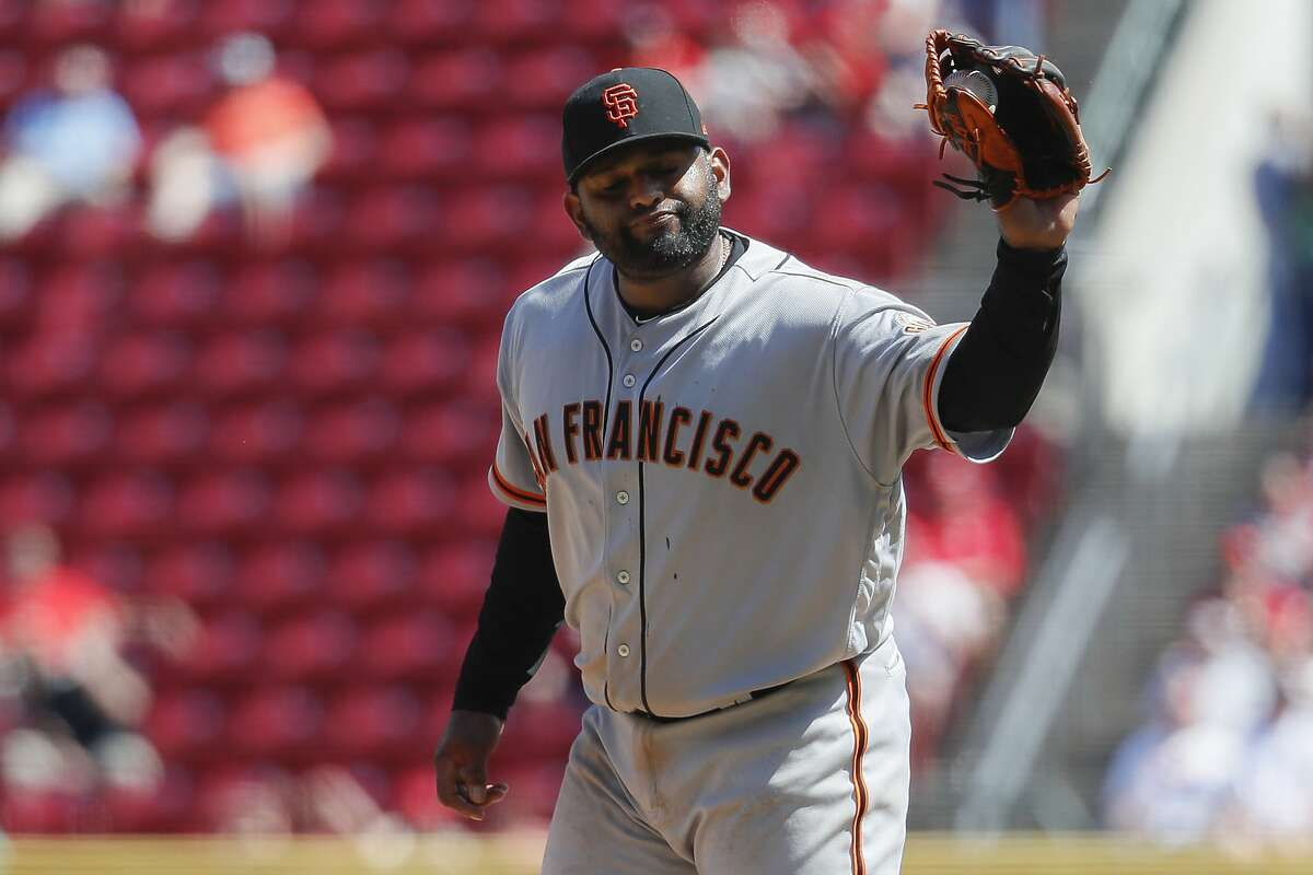 San Francisco Giants relief pitcher Pablo Sandoval reacts after hitting Cincinnati Reds' Jose Peraza with a pitch in the eighth inning of a baseball game, Monday, May 6, 2019, in Cincinnati. (AP Photo/John Minchillo)