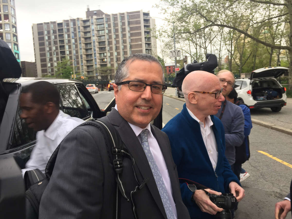 Marc Agnifilo, who is the attorney for NXIVM co-founder Keith Raniere, stands outside federal court on Monday, May 6, 2019, in Brooklyn, N.Y. (Robert Gavin / Times Union)