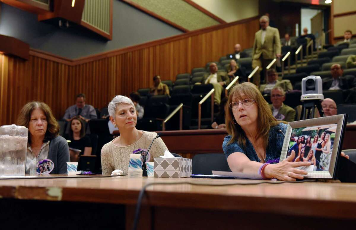 Susan Arundel names each of the victims and survivors of the Cutchogue crash during the State Standing Committee on Transportation hearing on