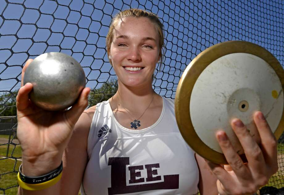 Paige Low, competitor in both the discus and shot put, photographed, May 6, 2019 at Lee High School. James Durbin/Reporter-Telegram Photo: James Durbin / Midland Reporter-