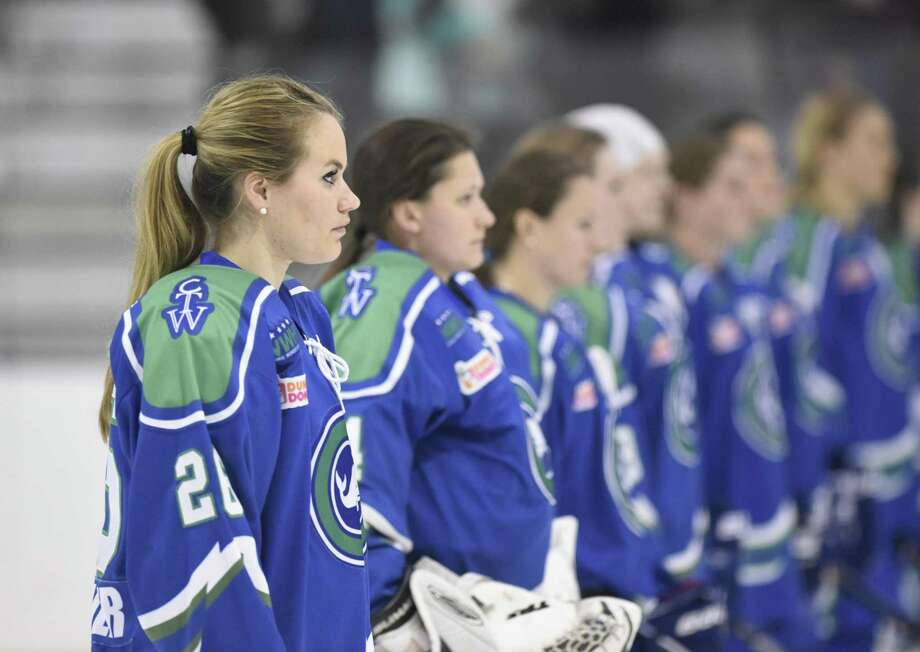 Connecticut Whale's Jordan Brickner (26) stands with her teammates during the National Anthem before the National Women's Hockey League game between the Connecticut Whale and the Buffalo Beauts at Chelsea Piers in Stamford, Conn. Sunday, Jan. 10, 2016. Photo: Tyler Sizemore / Hearst Connecticut Media / Greenwich Time