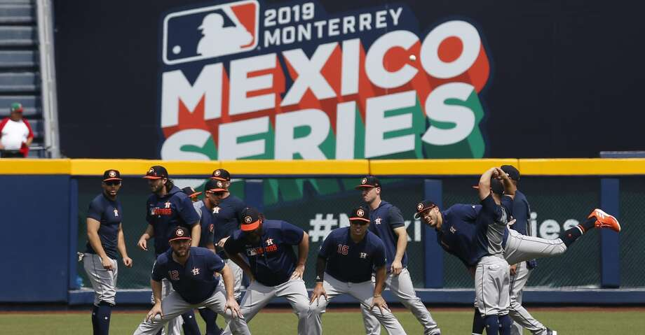 PHOTOS: Astros game-by-game Houston Astros' players warm up ahead of the start of the first match up of their two-game series against the Los Angeles Angels, in Monterrey, Mexico, Saturday, May 4, 2019. (AP Photo/Rebecca Blackwell) Browse through the photos to see how the Astros have fared in each game this season. Photo: Rebecca Blackwell/Associated Press