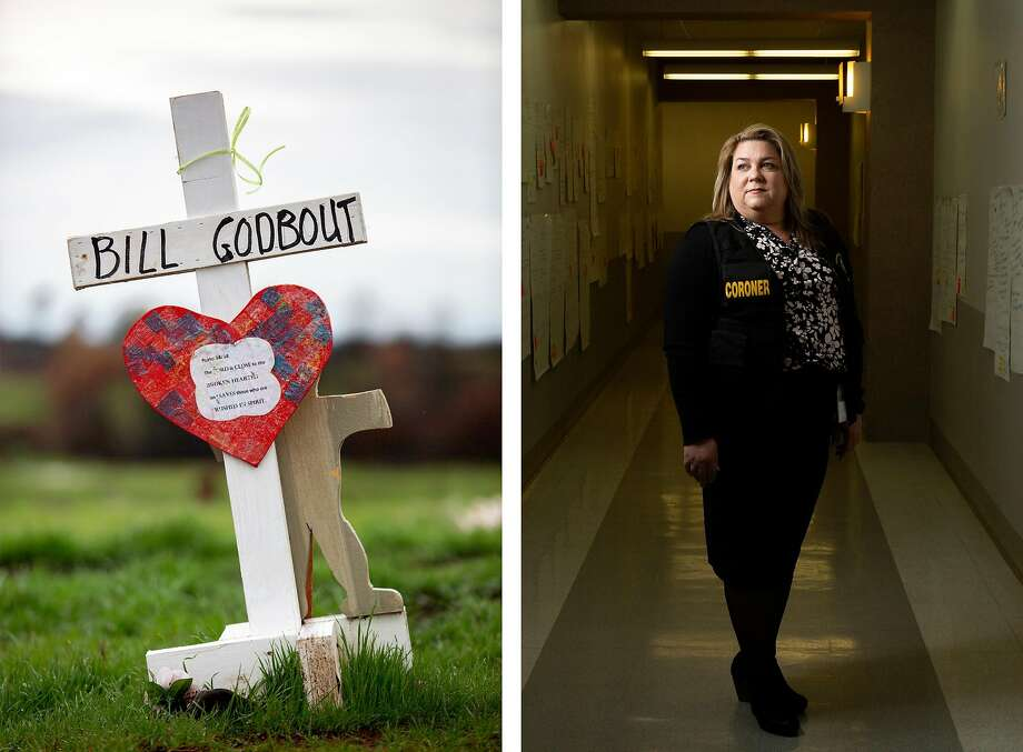 A memorial (left) for Bill Godbout and the victims of the Camp Fire stands March 5 at Skyway Road and Skyway Crossroad Road in Paradise. Sacramento County Coroner Kimberly Gin (right) and her team use the walls in the Sacramento County Coroner's Office hallway to keep information organized as they try to identify fire victims. Each poster represents a person. The posters on Gin's left represent those who are still unidentified. Photo: Santiago Mejia / The Chronicle