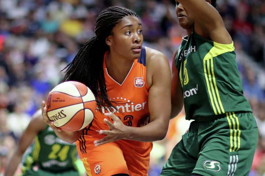 Morgan Tuck plays for the Connecticut Sun against Seattle during a game Aug. 8, 2017 in Uncasville. Photo: Tim Clayton / Corbis Via Getty Images / 2016 Tim Clayton 2016 Tim Clayton