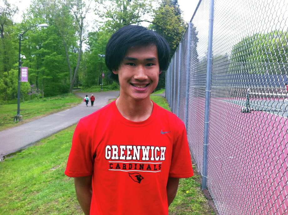 Greenwich High School senior Nick Liu received a CIAC Scholar Athlete Award on Sunday night. He was victorious at third doubles on Monday against Danbury in Greenwich. Photo: David Fierro / Hearst Connecticut Media / Connecticut Post