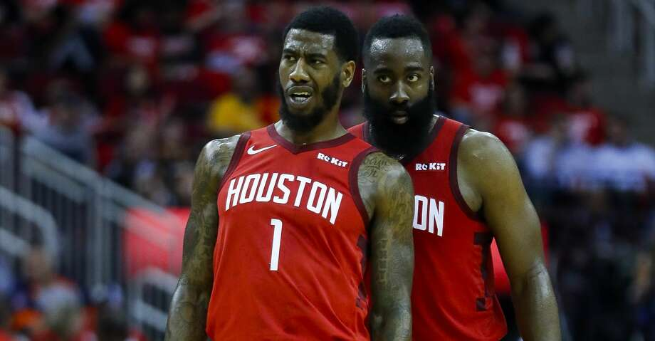 PHOTOS: Rockets game-by-game Houston Rockets guard Iman Shumpert (1) and guard James Harden (13) talk during the second half of game 2 during  the NBA playoffs at the Toyota Center in Houston, Wednesday, April 17, 2019. Browse through the photos to see how the Rockets fared in each game this season. Photo: Karen Warren/Staff Photographer