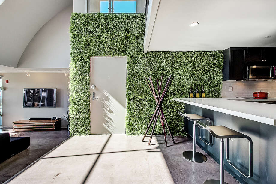 A penthouse condo in the inner-Mission with a view, lofty ceiling, and faux fern wall: this unique pad asks $1.098 million. Photo: Taylor Travis