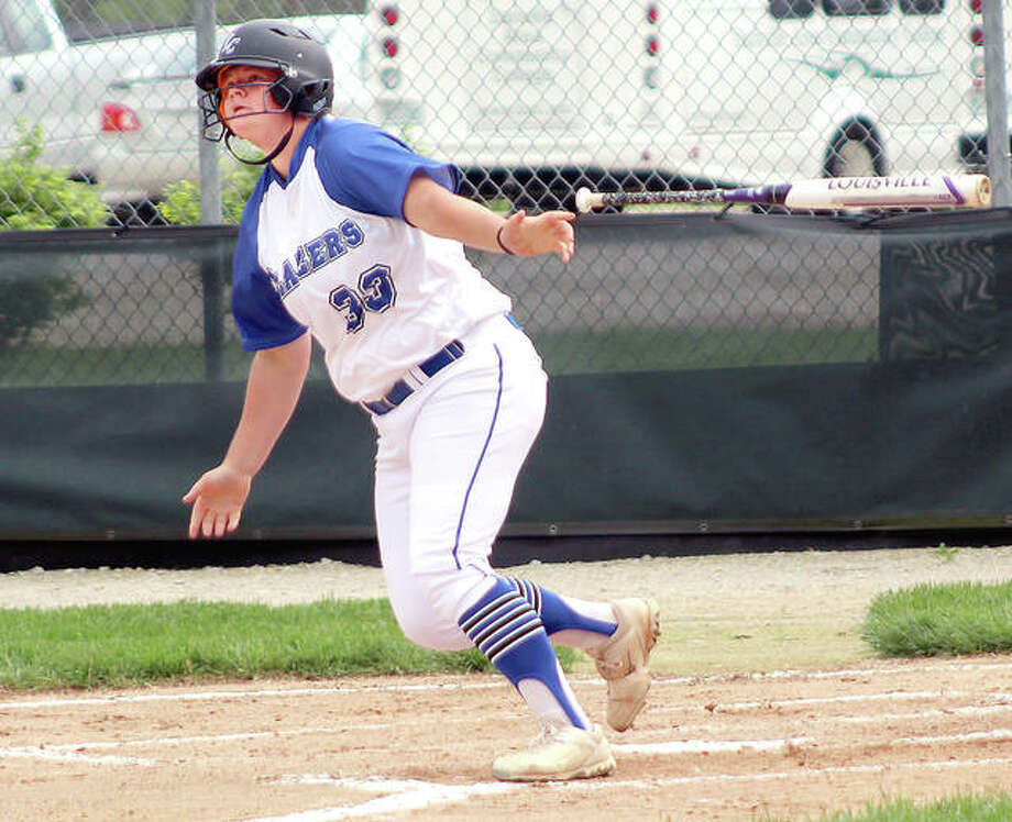 LCCC's Bethany Muenstermann watches as her home run sail over the right-centerfield fence Monday in the first game of her team's doubleheader loss Danville in Godfrey. Photo: Pete Hayes | The Telegraph