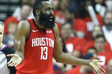 Houston Rockets guard James Harden (13) argues a call during the first half of Game 4 of a NBA Western Conference semifinal playoff game against the Golden State Warriors at Toyota Center, in Houston , Monday, May 6, 2019.