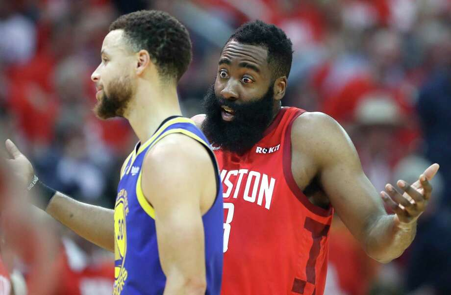 PHOTOS: More from the Rockets' Game 4 win over the Warriors Houston Rockets guard James Harden (13) argues a call as he stands next to Golden State Warriors guard Stephen Curry (30) during the first half of Game 4 of a NBA Western Conference semifinal playoff game at Toyota Center, in Houston , Monday, May 6, 2019. Photo: Karen Warren, Staff Photographer / © 2019 Houston Chronicle