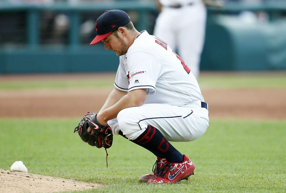 Cleveland Indians starting pitcher Trevor Bauer reacts after giving up a single to Chicago White Sox's Leury Garcia during the fifth inning of a baseball game, Monday, May 6, 2019, in Cleveland. The White Sox defeated the Indians 9-1. (AP Photo/Ron Schwane)