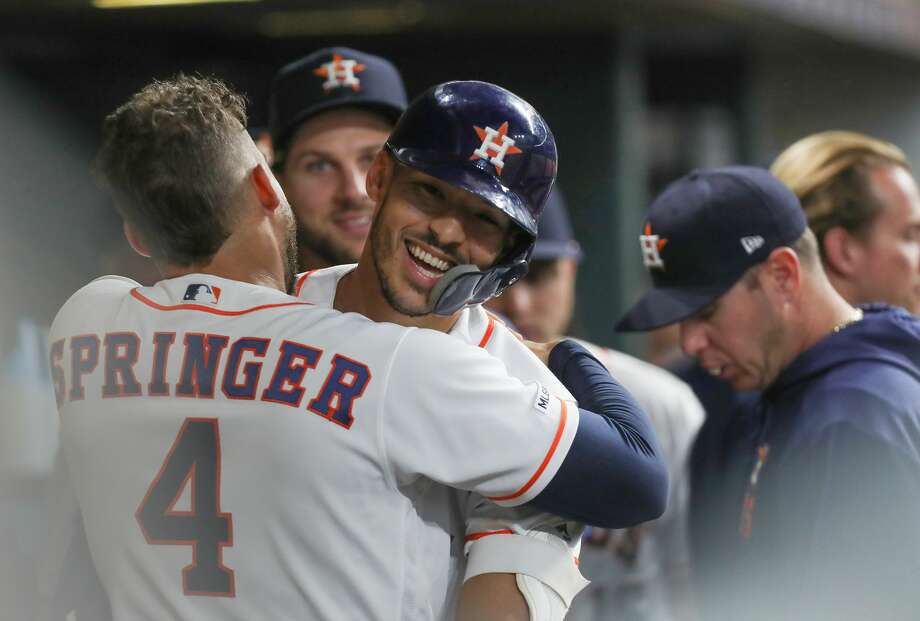 PHOTOS: 2019 Astros game-by-game Houston Astros shortstop Carlos Correa (1) celebrates with Houston Astros center fielder George Springer (4) after scoring a home-run during the 2nd inning of an MLB baseball game at Minute Maid Park Monday, May 6, 2019, in Houston. >>>See how the Astros have fared so far this season ... Photo: Steve Gonzales/Staff Photographer