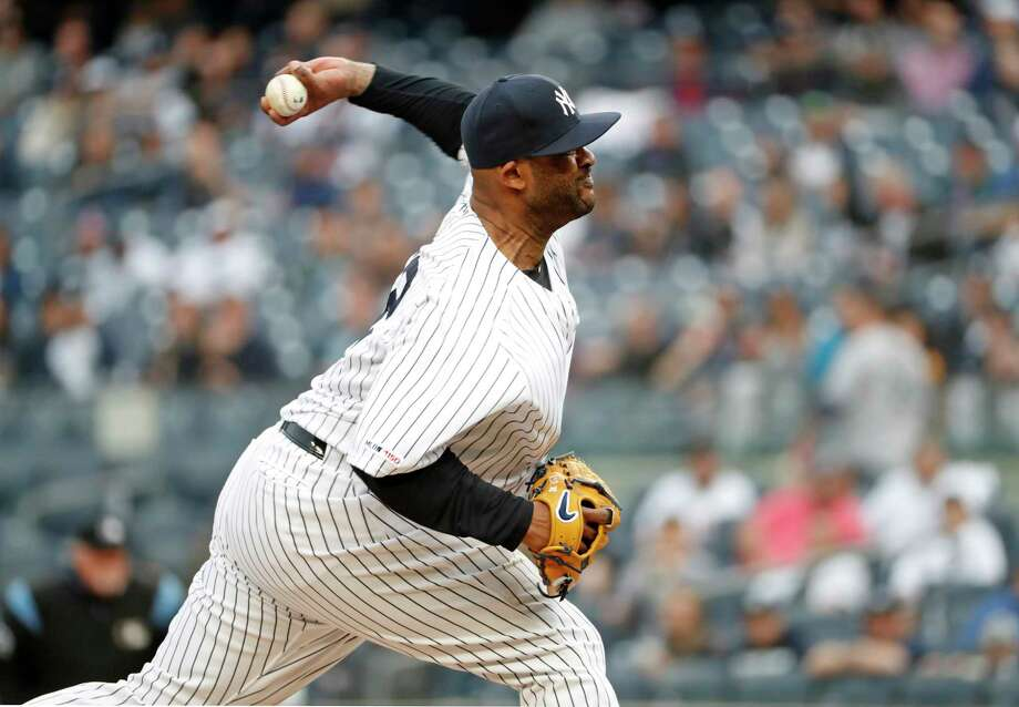 ff90eb0e4 New York Yankees starting pitcher CC Sabathia winds up during the first  inning of a baseball