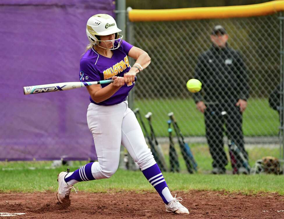 Ballston Spa's Lauren Kersch hits the ball during a softball game against Shenendehowa on Wednesday, May 1, 2019 in Ballston Spa, N.Y. (Lori Van Buren/Times Union)
