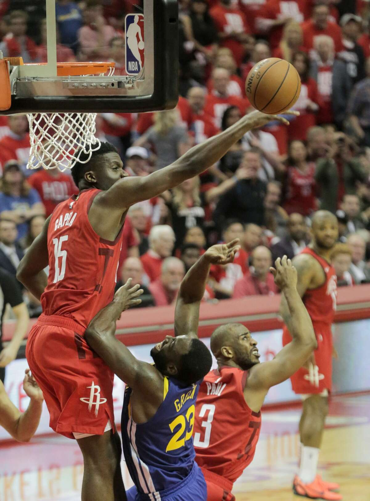 during the second half of Game 4 of a NBA Western Conference semifinal playoff game at Toyota Center, in Houston , Monday, May 6, 2019.