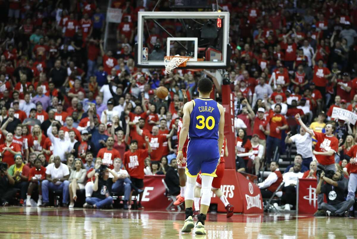 Golden State Warriors guard Stephen Curry (30) walks back up the court after a Houston Rockets score during the second half of Game 4 of a NBA Western Conference semifinal playoff game at Toyota Center, in Houston , Monday, May 6, 2019.