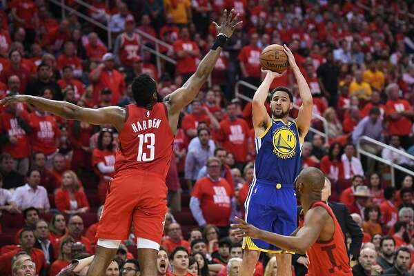 1df922cf8b9a 1of4Golden State Warriors guard Klay Thompson (11) shoots over Houston  Rockets guard James Harden (13) during the second half in game 4 of the NBA  Western ...