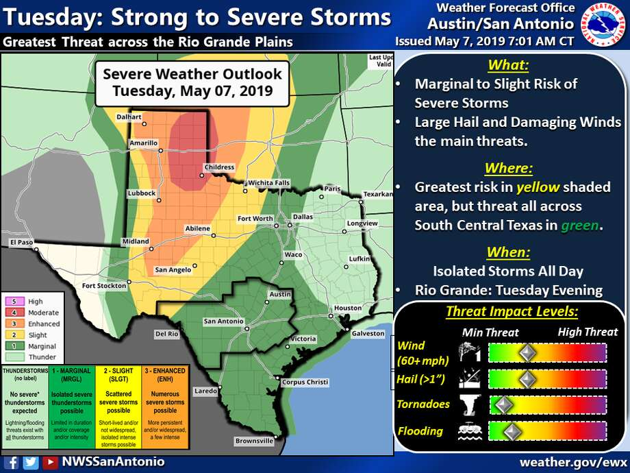 The National Weather Service on Tuesday warned of severe storms headed to the Hill Country region on Tuesday and Wednesday. Photo: National Weather Service
