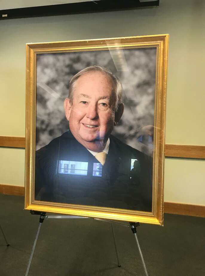 The portrait of Judge David Tobin unveiled at the Stamford courthouse on Monday. Photo: John Nickerson / Staff