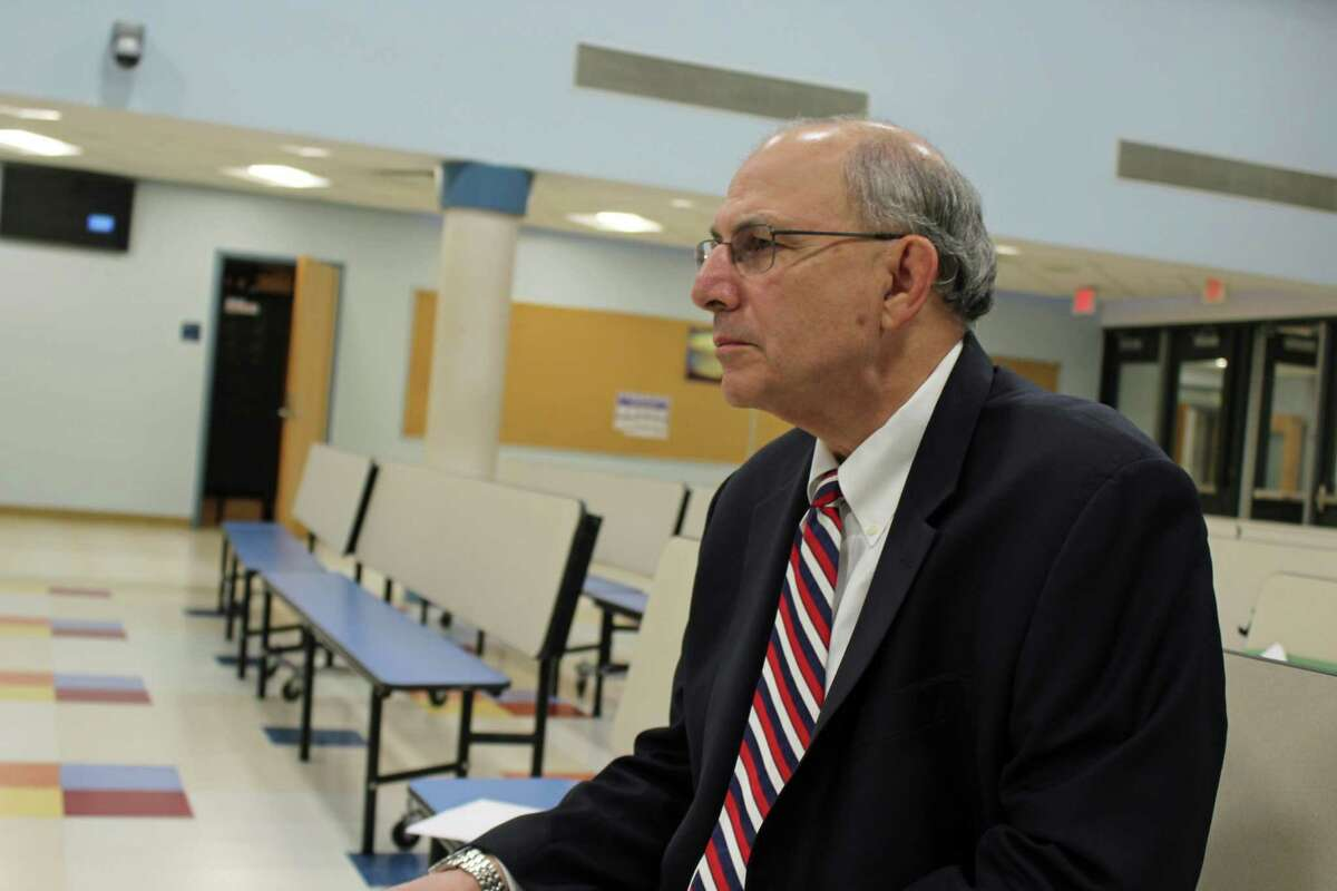 New interim superintendent David Abbey listens to Board of Education members discuss issues regarding Coleytown Middle School renovations by Antinozzi Associates on May 6, 2019, in Westport.