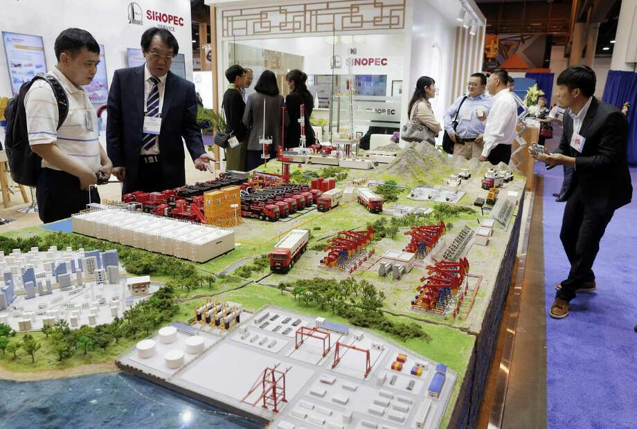 A model of a drilling site on display at the Sinopec booth during the first day of the Offshore Technology Conference at the NRG Center Monday, May. 6, 2019 in Houston, TX. Photo: Michael Wyke, Houston Chronicle / Contributor / © 2019 Houston Chronicle