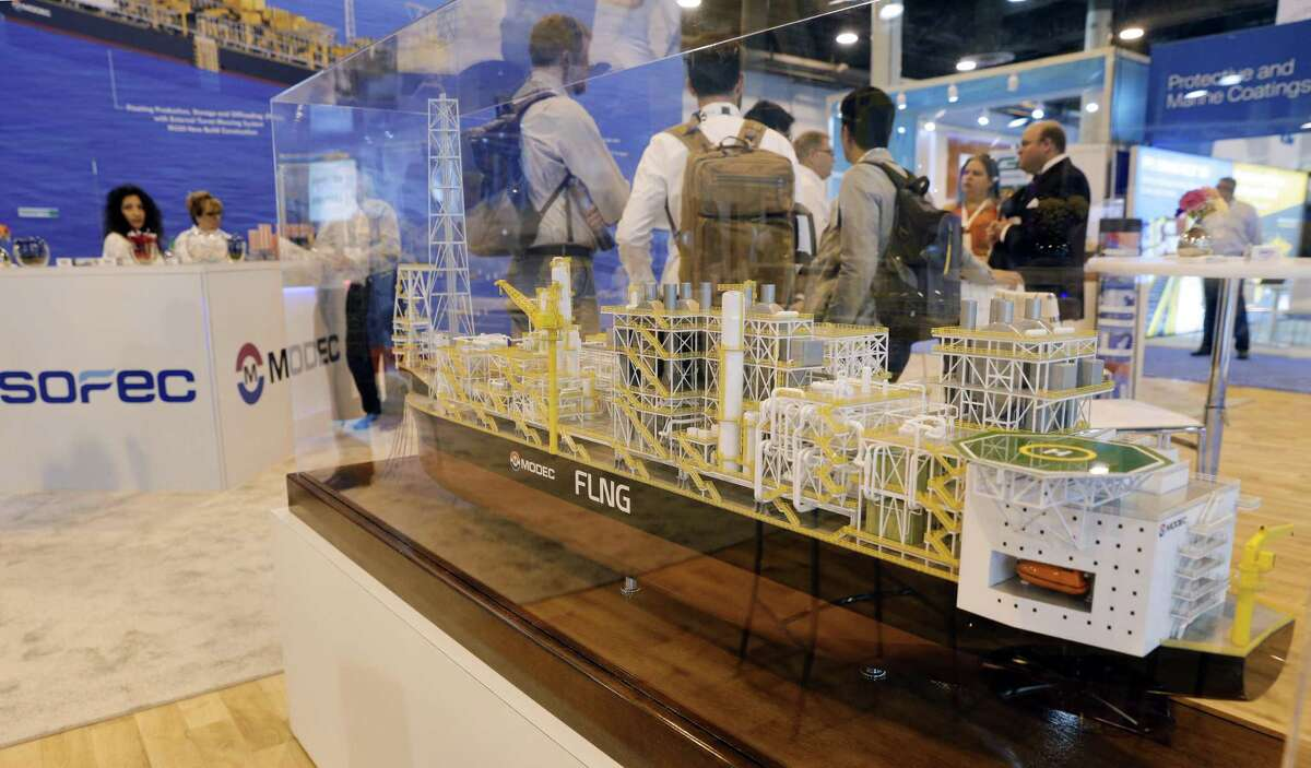 A model of an oil and gas ship on display at the SOFEC booth during the first day of the Offshore Technology Conference at the NRG Center Monday, May. 6, 2019 in Houston, TX.