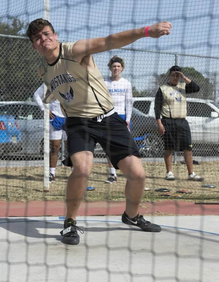Andrews' Jacob Mechler competes in discus 02/15/2019 at the Tall City Invitational track at Memorial Stadium. Tim Fischer/Reporter-Telegram Photo: Tim Fischer