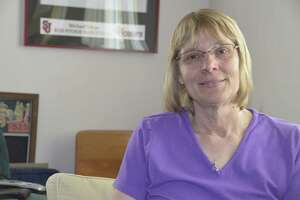 Sharon Varga  in 2013, when she was discussing plans for a Milford walk to raise money for pancreatic cancer research.