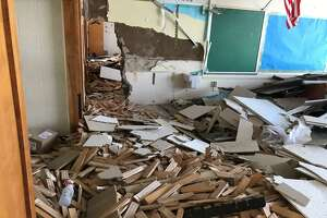 A demolished classroom of the old New Lebanon School. Four months after students moved into their new school, the construction company Gilbane has begun demolishing the old structure, now that the hazardous abatement is complete.