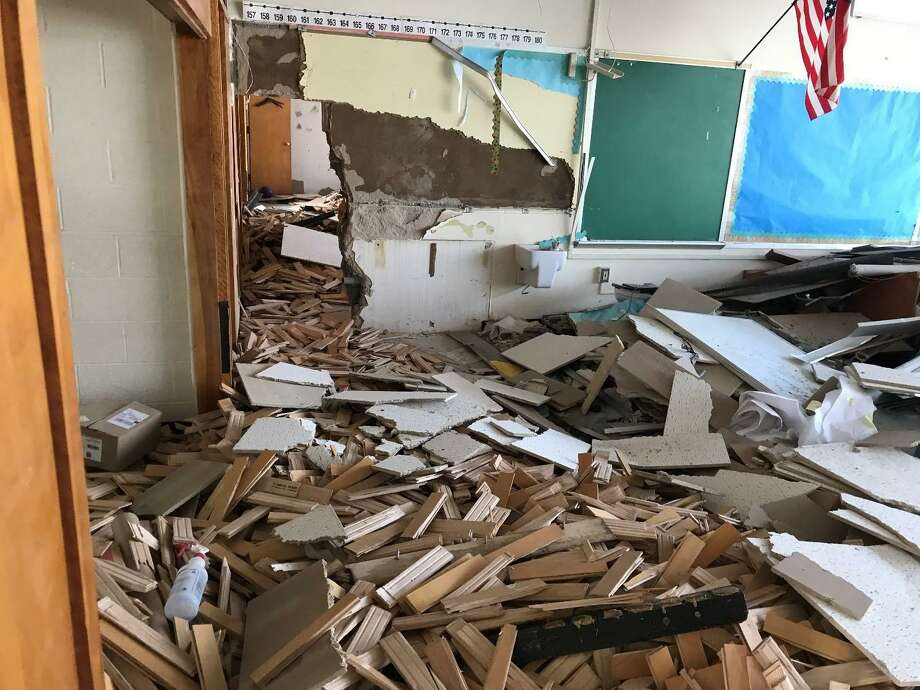 A demolished classroom of the old New Lebanon School. Four months after students moved into their new school, the construction company Gilbane has begun demolishing the old structure, now that the hazardous abatement is complete. Photo: Contributed