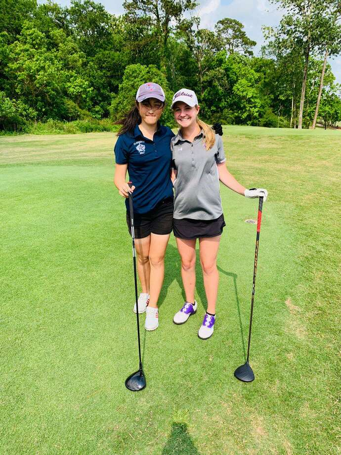 Clements' Natalie Cao and Ridge Point's Reagan Gray, shown in a 2018 tournament selected for the 2020 Houston Area Golf Coaches Association All-Area Team. Photo: Ridge Point High School / Ridge Point High School