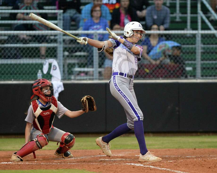 Maggie Darr (22) drives in the first runs for Ridge Point during the third inning of a Class 6A Region III playoff softball game between the Ridge Point Panthers and Cy Creek Cougars on Wednesday, May 1, at Mayde Creek High School, Katy, TX. Photo: Craig Moseley, Houston Chronicle / Staff Photographer / ©2019 Houston Chronicle
